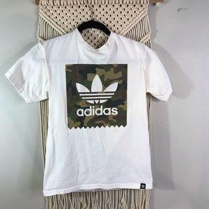This is a white adidas camo bogo t-shirt